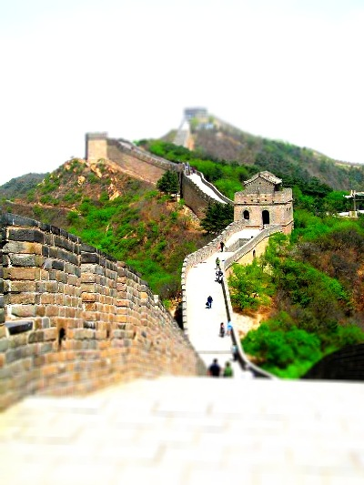 A photo of the Great Wall Tilt Shifted